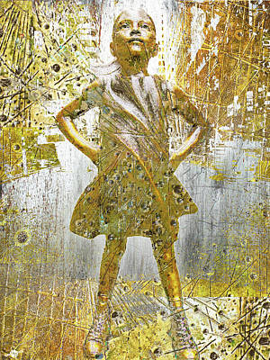 Mixed Media - Fearless Girl By Kristen Visbal by Tony Rubino