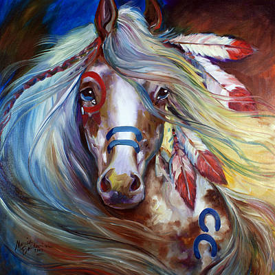 Animals Paintings - Fearless Indian War Horse by Marcia Baldwin