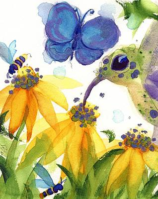 Hummingbird Painting - Feast For All by Dawn Derman