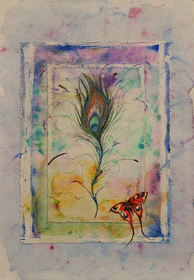 Painting - Feather And Butterfly by Lynn Hughes