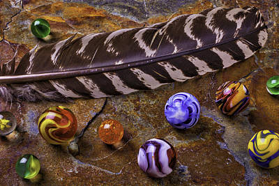 Photograph - Feather And Marbles by Garry Gay