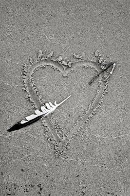 Feather Arrow Through Heart In The Sand Art Print