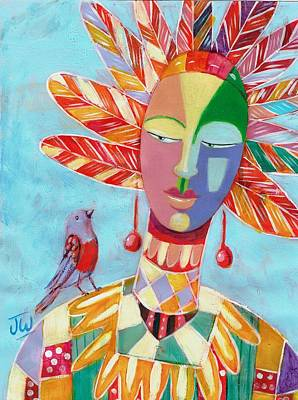Painting - Feather Head Dress by June Walker