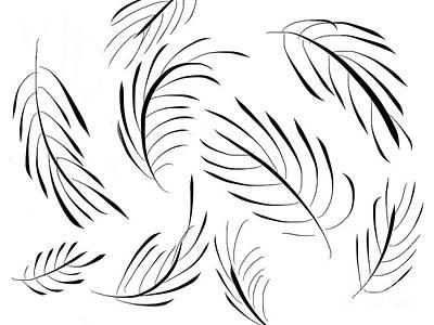 Animal Painting - Feather Leaves by Go Van Kampen