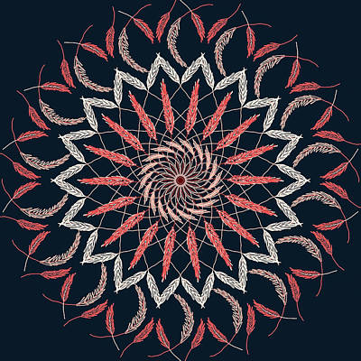 Digital Art - Feather Mandala 1 by Ronda Broatch