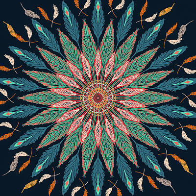 Digital Art - Feather Mandala IIi by Ronda Broatch