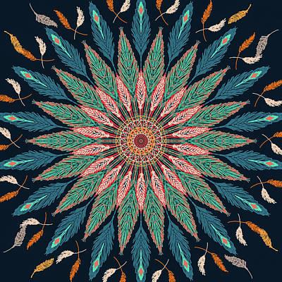 Digital Art - Feather Mandala IIi by Ronda Broatch