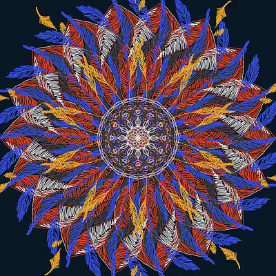 Digital Art - Feather Mandala Iv by Ronda Broatch