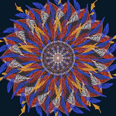 Digital Art - Feather Mandala Iv by Ronda Broatch