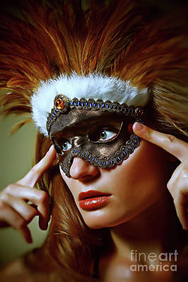 Photograph - Feather Mask Venetian Eye Mask by Dimitar Hristov