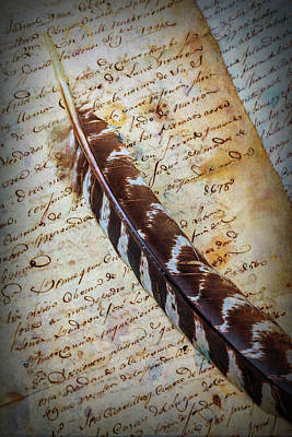 Feather On Old Letter Art Print