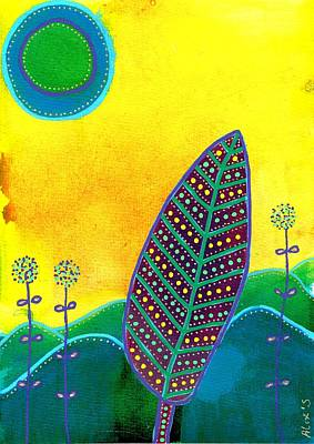 Painting - Feather On Yellow Background by Alexandra Schumann