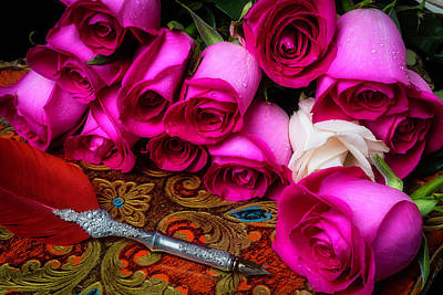 Feather Pen And Roses Art Print by Garry Gay