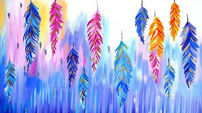 Pretty Quilts Painting - Feather Prints by Cathy Jacobs