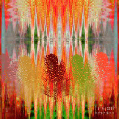 Burnt Digital Art - Feather Vibrations by Chellie Bock