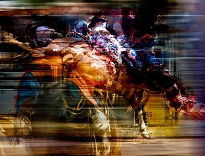 Roping Horse Painting - Feathered Bronc Rider by Mark Courage