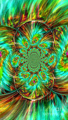 Kim Digital Art - Feathered Kaleidoscope by Kim Peto