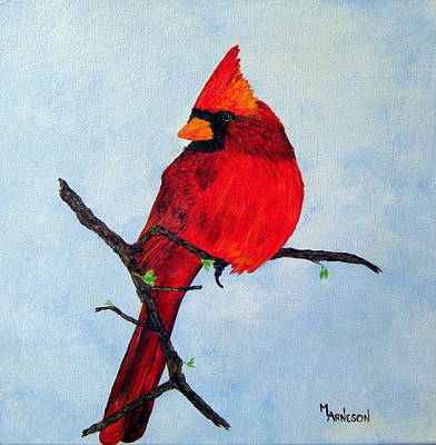 Wall Art - Painting - Feathered Rubies by Mary Arneson