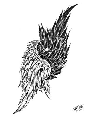 Graphite Drawing - Feathered Ying Yang  by Peter Piatt