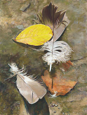 Pastel - Feathers And Leaves by Nick Payne