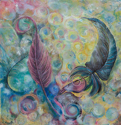Spectral Painting - Feathers In Bokeh by Karen Forsyth