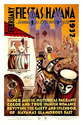Mixed Media - February Fiestas In Havana, Cuba - Dancing At Carnival - Retro Travel Poster - Vintage Poster by Studio Grafiikka