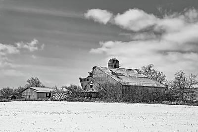 Photograph - February Barn 2 Bw by Steve Harrington