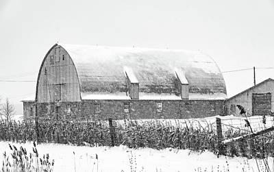 Photograph - February Barn Bw by Steve Harrington