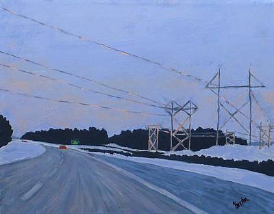 Maine Roads Painting - February Dawn by Laurie Breton