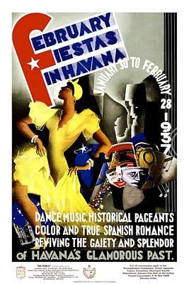 Mixed Media - February Fiestas In Havana - Woman Dancing At Carnaval - Retro Travel Poster - Vintage Poster by Studio Grafiikka