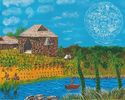 Mayan Painting - February  Mayan Farm by Paul Fields