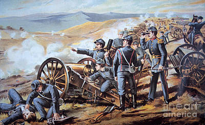 Cannons Painting - Federal Field Artillery In Action During The American Civil War  by American School