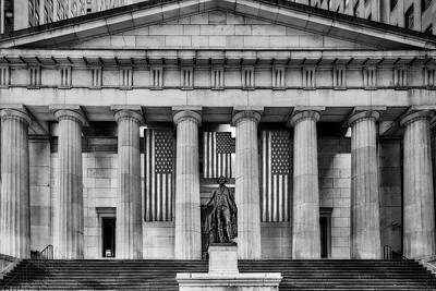 Photograph - Federal Hall National Memorial Nyse Bw by Susan Candelario