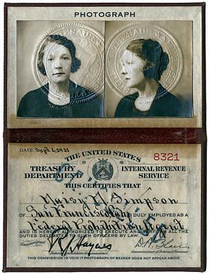 Gender Discrimination Photograph - Federal Prohibition Agent Daisy Simpson 1921 by Daniel Hagerman