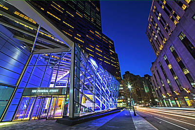 Photograph - Federal Street At Night Glass Building Boston Ma by Toby McGuire