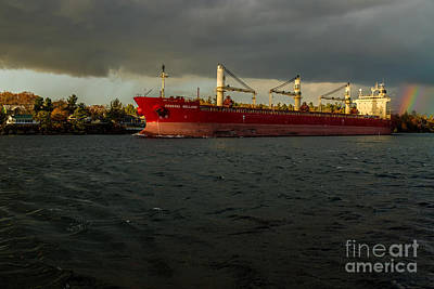 Bath Time - Federal Welland Passing Wellesly Island by Roger Monahan