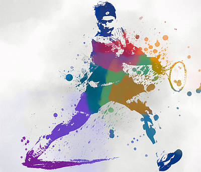 Federer Paint Splatter Art Print by Dan Sproul