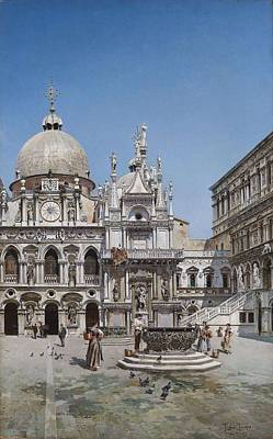 Modern Feathers Art - Federico del Campo  Courtyard of the Palazzo Ducale in Venice by Artistic RifkiFederico del Campo