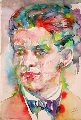 Painting - Federico Garcia Lorca - Watercolor Portrait.5 by Fabrizio Cassetta