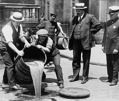 Feds Dump Prohibition Beer In Sewer C. 1925 Art Print by Daniel Hagerman