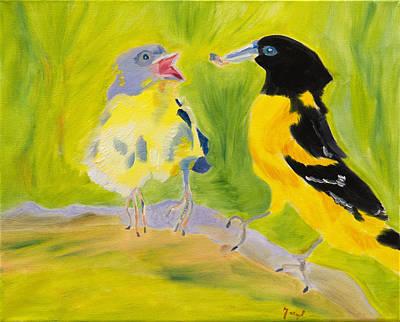 Bird Picnic In The Sun Original by Meryl Goudey
