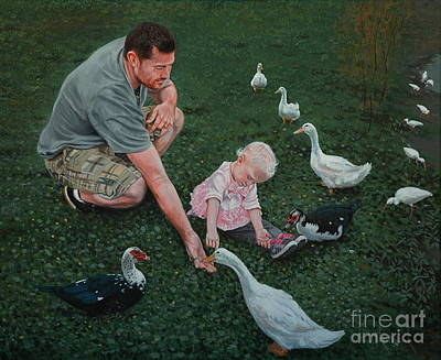 Feeding Ducks With Daddy Art Print by Michael Nowak