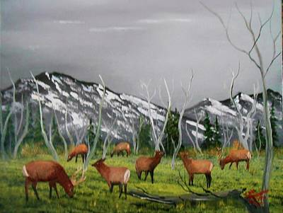 Art Print featuring the painting Feeding Elk by Al Johannessen