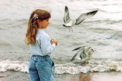 Photograph - Feeding Gulls by Bernard Lynch