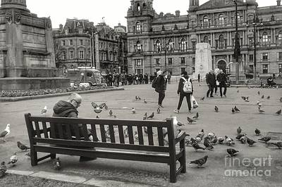 Photograph - Feeding The Birds At George Square In Greyscale by Joan-Violet Stretch