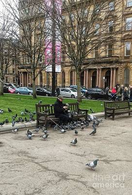 Photograph - Feeding The Birds At George Square by Joan-Violet Stretch
