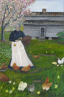 Painting - Feeding The Chickens by Linda Clark