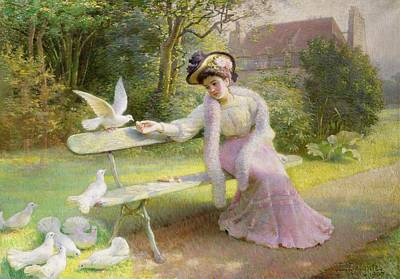 Dove Painting - Feeding The Doves  by Edmond Alphonse Defonte