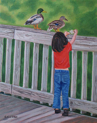 Painting - Feeding The Ducks by Jill Ciccone Pike