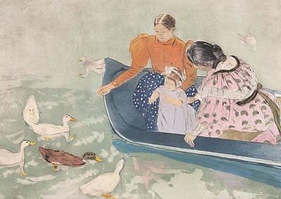 Duck Drawing - Feeding The Ducks by Mary Stevenson Cassatt